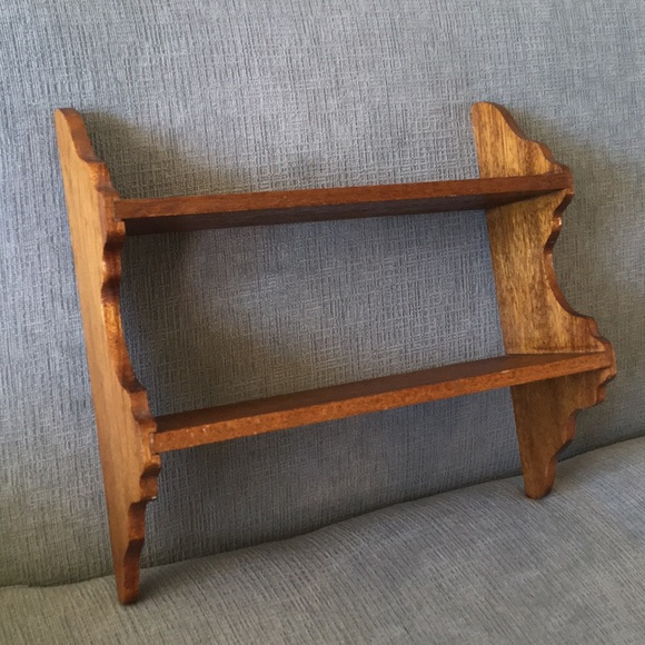 Vintage Handmade Wood Double Shelf